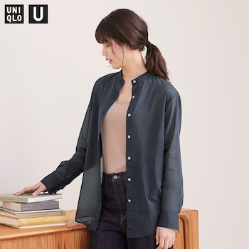 New! U Sheer Band Collar Long-Sleeve Shirt