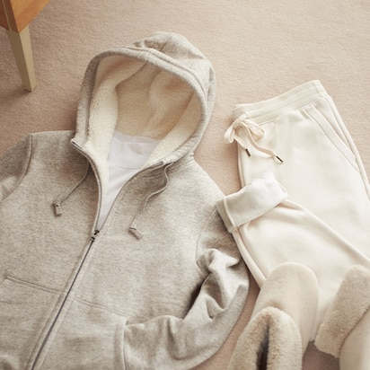 Pile-Lined Sweat Long-Sleeve Full-Zip Hoodies
