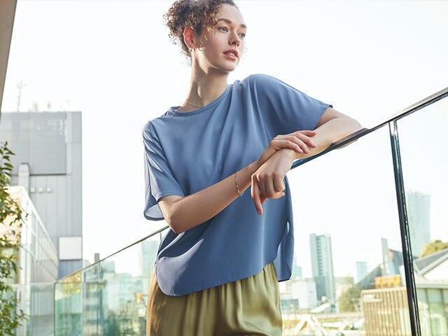 Silk Feel Short-Sleeve Blouse