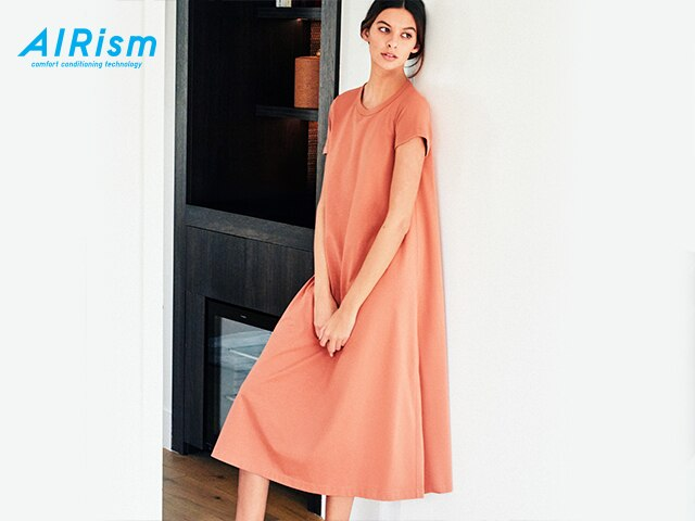 U AIRism Cotton A-Line Short-Sleeve Dress