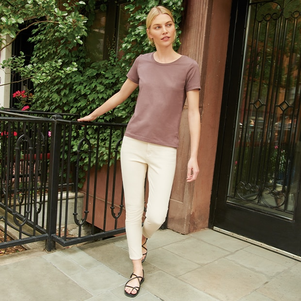 Flattering rise and cropped cut, yet still comfortable.