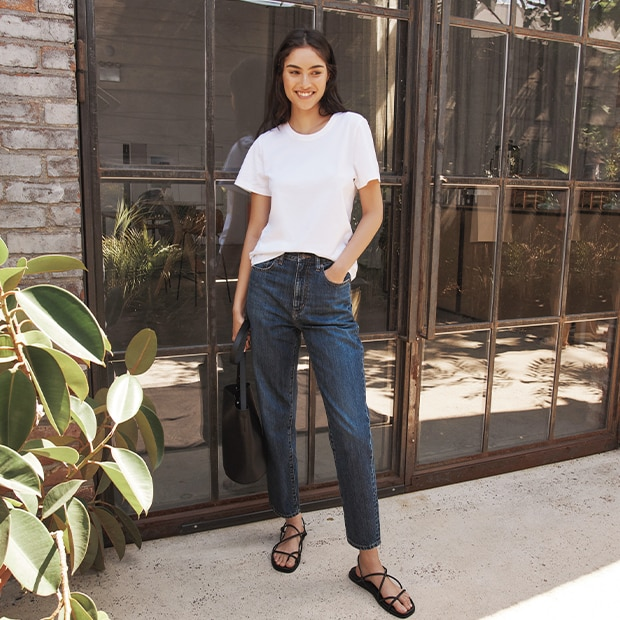 Our version of Mom Jeans are tapered to flatter.