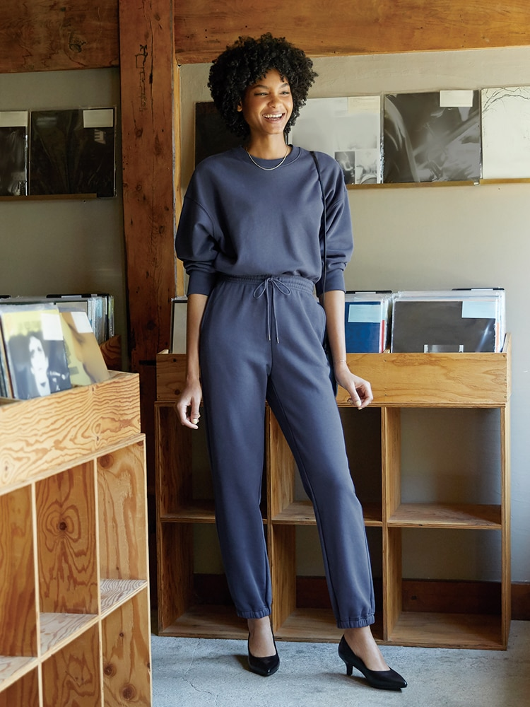 Match new sweatshirts and pants for a trendy and tonal look.
