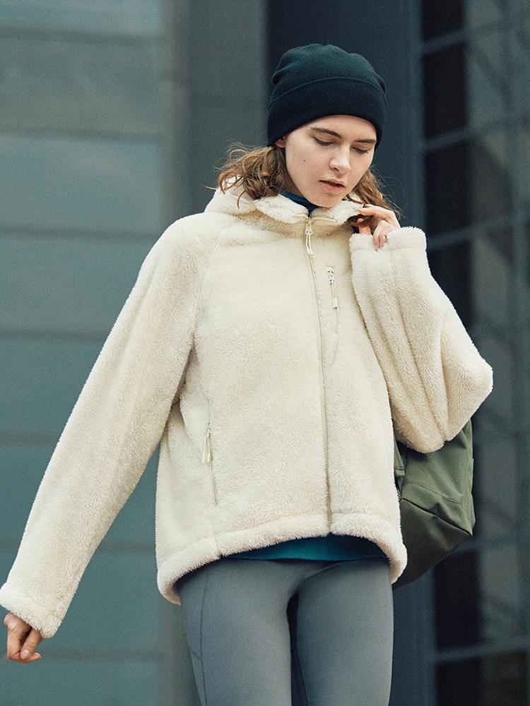 Stay active and comfy in this fluffy jacket.
