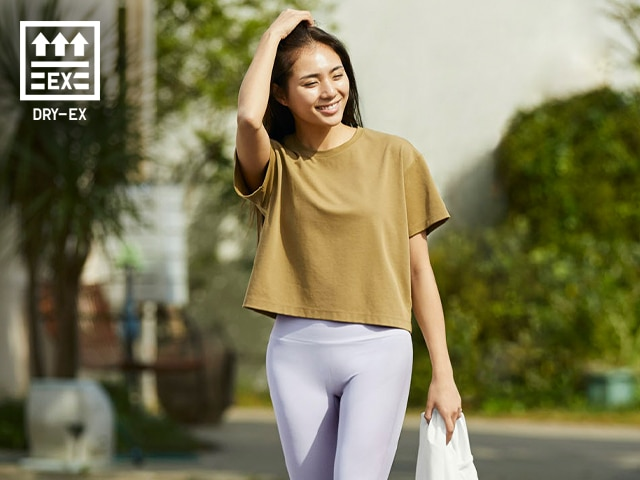DRY-EX Cropped Crew Neck Short-Sleeve T-Shirt