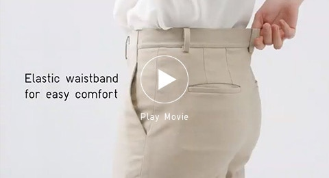 Stretchy, easy to move in, and wrinkle-resistant. The elastic waistband is discrete and perfectly lightweight.