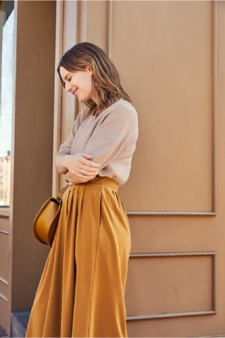 CREPE JERSEY CROPPED FLARED WIDE LEG PANTS