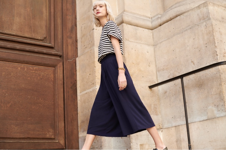 CREPE JERSEY FLARE WIDE CROPPED PANTS