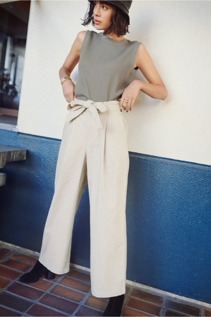 BELTED LINEN COTTON WIDE STRAIGHT PANTS