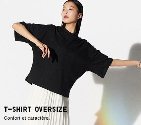 350daa8c34 T-shirts femme et Polos femme : coton, col en V, manches longues ...    UNIQLO