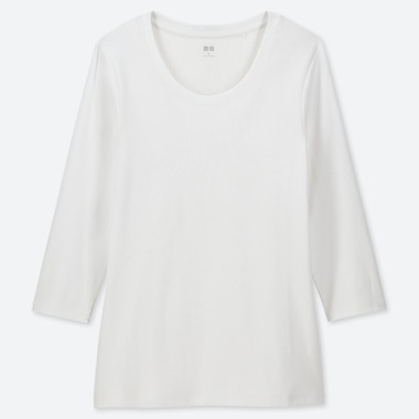1*1 RIBBED COTTON CREW NECK 3/4 SLEEVE T-SHIRT