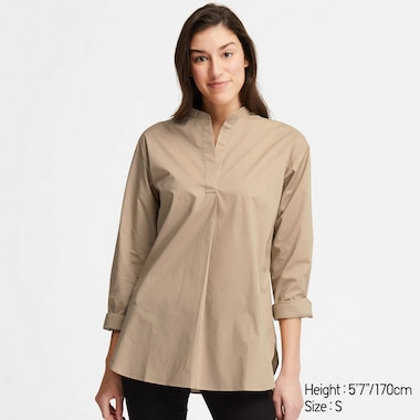 EXTRA FINE COTTON STAND COLLAR LONG-SLEEVE SHIRT