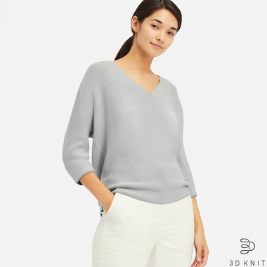 3D COTTON COCOON V-NECK 3/4 SLEEVE SWEATER