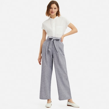 BELTED LINEN COTTON WIDE STRAIGHT PANTS (EXTENDED LENGTH)