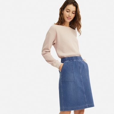 women denim jersey skirt