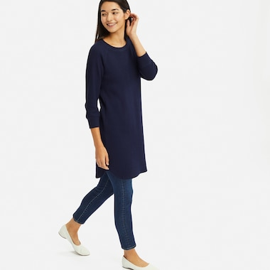 WAFFLE CREW NECK 3/4 SLEEVE DRESS