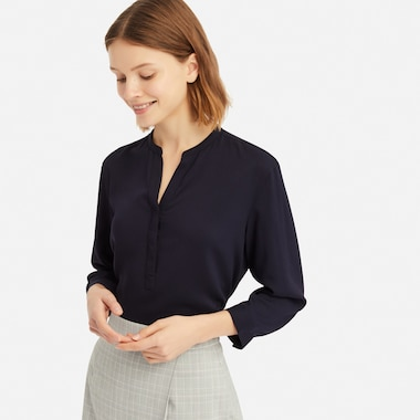 RAYON STAND COLLAR 3/4 SLEEVE BLOUSE
