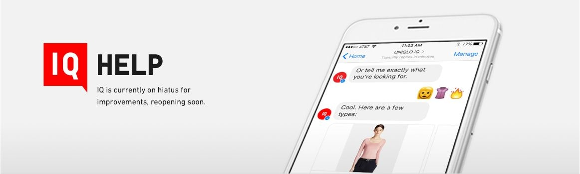 Uniqlo IQ Facebook Messenger Chat bot FAQ and HELP Page